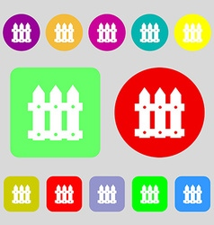 Fence icon sign 12 colored buttons flat design vector