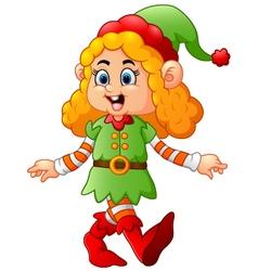 happy girl wearing elf costume vector image