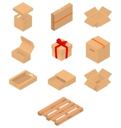 Set of isometric cardboard boxes and pallet vector