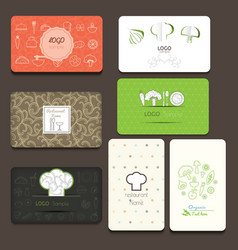 Set of business cards for cafe and restaurant vector
