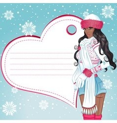 Sexy african winter girl greeting card vector