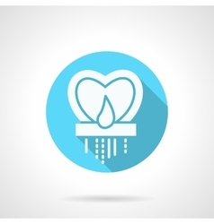 Round blue heart candlestick flat icon vector