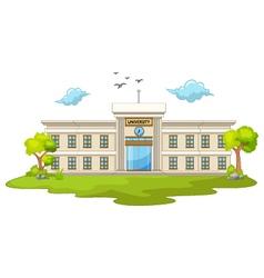 beautiful university cartoon with green grass vector image vector image