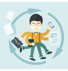 Chinese man with multitasking job vector