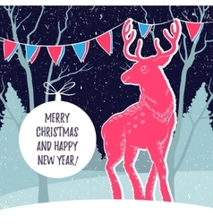 Christmas with reindeer and snowy vector
