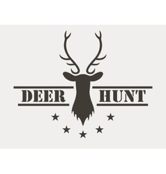 Deer hunt hunting club logo in vintage style vector
