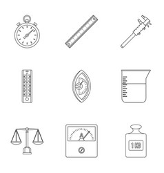Dimension icon set outline style vector