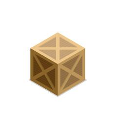 flat isometric wood box vector image