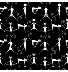 Funny white cats seamless pattern for your design vector image