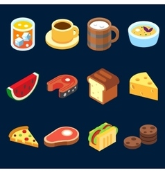Game icons set different food for higher health vector