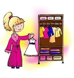 Girl dress hangs in the closet vector image