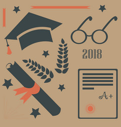 graduation package two thousand eighteen paper vector image vector image