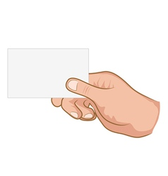 hand holding a white paper vector image vector image