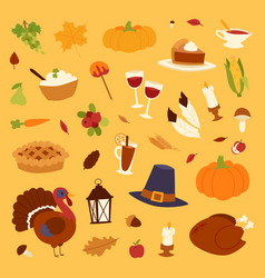 happy thanksgiving day icons set for family vector image vector image