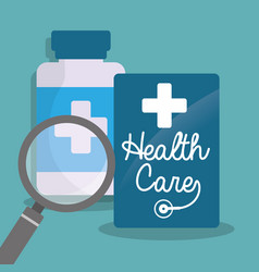 Health care bottle medicine loupe vector
