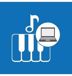 Laptop music technology keyboard piano vector