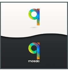 Letter q logo alphabet mosaic icon set background vector