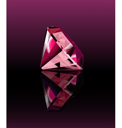 Pink diamond with reflection vector image vector image