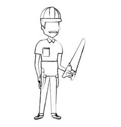 Repairman builder with handsaw avatar character vector