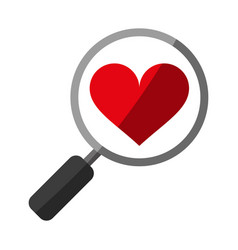 Search heart flat shadow vector