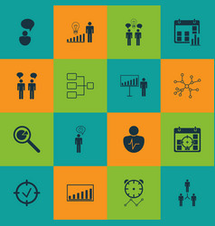 Set of 16 authority icons includes team meeting vector