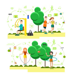 set of training outside people flat symbols vector image