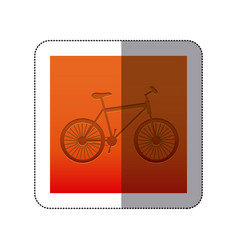 Sticker color background with carved bike vector