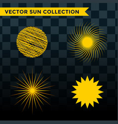 Sun burst star icon set summer vector