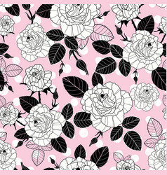Vintage black and pink roses and leaves on vector