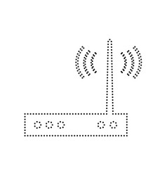 Wifi modem sign black dotted icon on vector