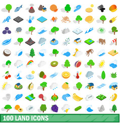 100 land icons set isometric 3d style vector image