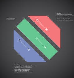 Octagon template consists of three color parts on vector