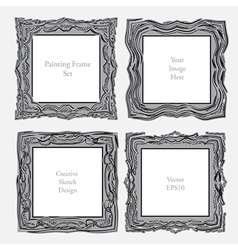 Elegant antique square picture frame vector