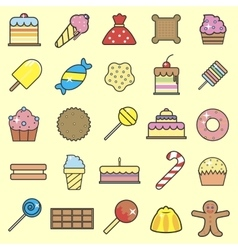Set of sweet food icons set tasty collection of vector