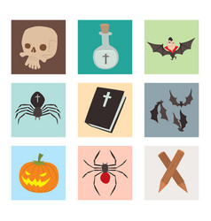 Cartoon dracula coffin symbols vampire vector