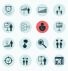 Set of 16 board icons includes project analysis vector