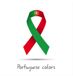 Modern colored ribbon with the portuguese colors vector
