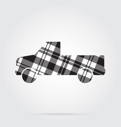 Grayscale tartan icon - pickup with a flatbed vector