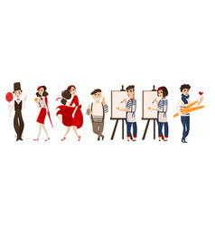 French people mimes artists - symbols of france vector