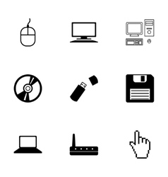 Black computer icons set vector