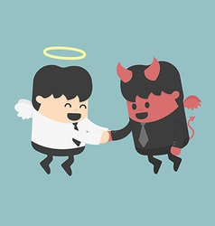 Devil and angel shake hands vector