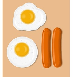 Fried eggs and sausages vector