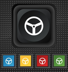 Steering wheel icon sign symbol squared colourful vector