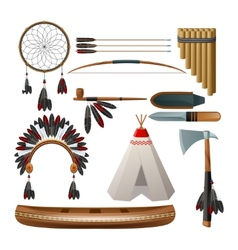 Ethnic american indigenous set vector
