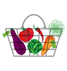 Shopping bag with vegatables vector