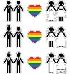 Lesbian brides and gay grooms icon 1 set vector