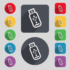 Usb flash drive icon sign a set of 12 colored vector