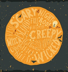 Halloween hand lettering on the round background vector