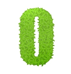 Number 0 consisting of green leaves vector image
