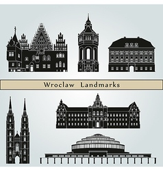 Wroclaw landmarks and monuments vector